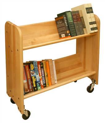 Rol-Rack Book & Video Cart w Shelves & Natural Birch Finish [ID 23787]