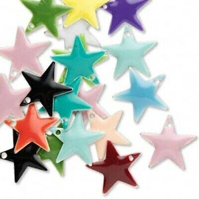 120 Silver Plated Brass & Epoxy 12x12mm Star Charms Mix