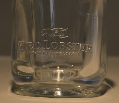 RED LOBSTER Mason Jar Glass heavy embossed single glass