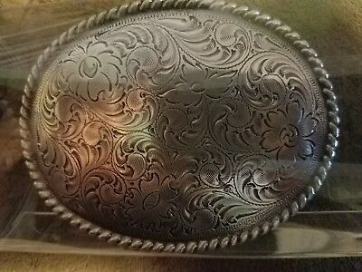 Western Cowboy Cowgirl Oval Rope Antique Silver Plated Rodeo Trophy Belt Buckle