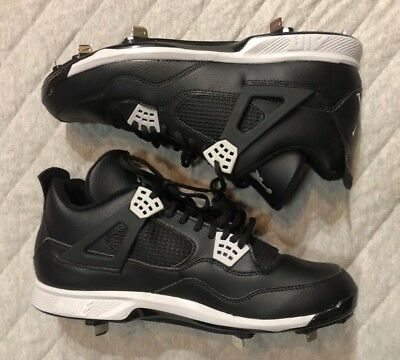 e46aee0196ff Nike Air Jordan Retro IV 4 Oreo Metal Baseball Cleats Size 13 807710-010  NWOB