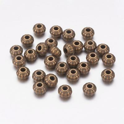 Lot of 10 Pieces Tibetan Silver Antique Bronze Ridged Spacer Beads 6mm x 6mm US