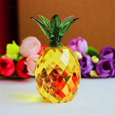 Crystal  glass Pineapple Figurine Festive Party House Desk Decoration Craft Gift
