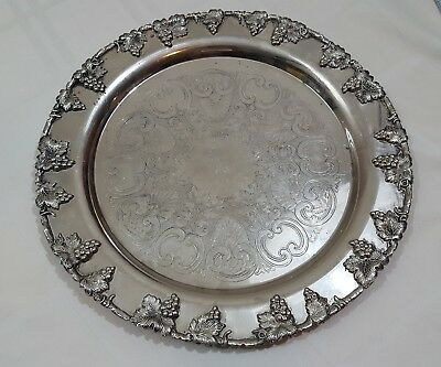 Vintage Lehman Bros Silver On Copper Ornate Grape Pattern 13 Inches Serving Tray
