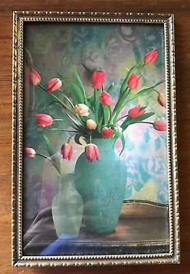 1940s Vintage Photo Frame Tulips Domed Glass Brass Tone