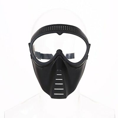 Protective Airsoft Paintball Game Tactical Full Face Black Clear Helmet Mask