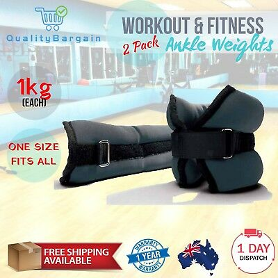 2 Pack Leg Exercise 1kg Ankle Weights Workout Weighted Fitness Training Home Gym