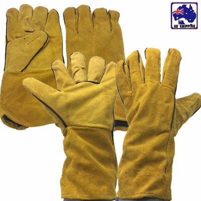 2 Pairs Welding Gloves Guard Working Protection Leather Cowhide TGL000620x2pairs
