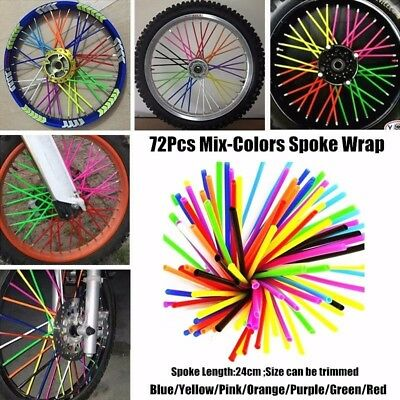 72pc Wheel Spoke Skin Cover Wrap Kit 4 Motorcycle Motocross Dirt Bike MIX COLOR