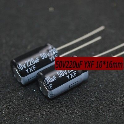 100 pcs High Frequency Electrolytic Capacitors 50V220uf YXF Series 10*16mm 105°C