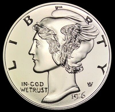 1916-D Mercury Dime Winged Liberty 1 oz Silver Round 999 Fine 39mm
