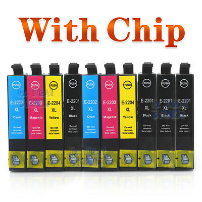 10x Ink Cartridge 220XL for Epson WF2630/2650/2660 XP420/220/320/324/424 NonOEM