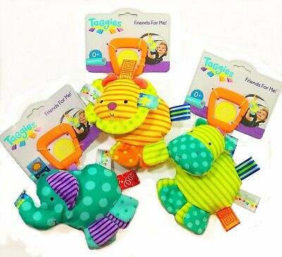 Infant Baby Kids Taggies Attachable Soft Stuffed Rattle Squeaky Crib Playmat Toy