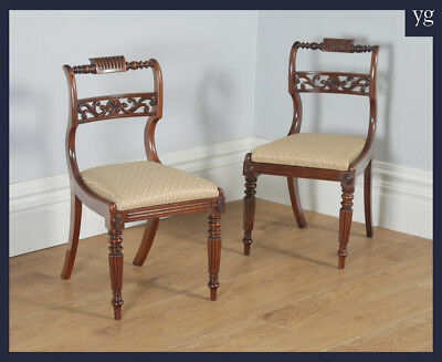 Antique Pair of 2 Two Regency Mahogany Dining Side Hall Library Chairs c.1820