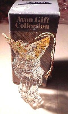 """Avon Angel Christmas Ornament Playing a Harp Gold Wings Acrylic 4"""" Boxed Vtg #B"""