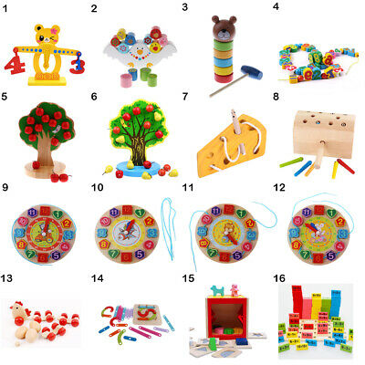 Wooden Baby Toddler Toys Activity Montessori Sensory Threading Mathematics Toy