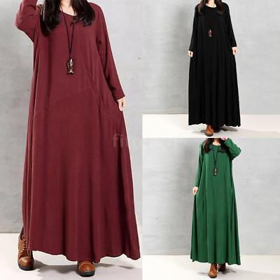 Women Kaftan Maxi Long Sundress Soft Casual Loose Pockets Dress Plus Size S3B0