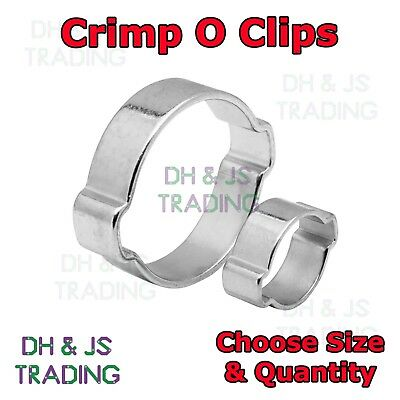 DOUBLE EAR CLAMP O CLIPS - Crimp O Clip Air Silicone Petrol Water Fuel Hose Pipe