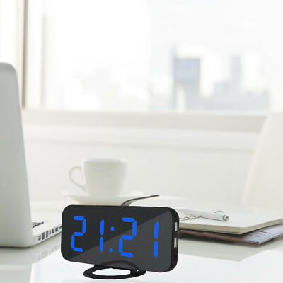 LED Digital Alarm Clock USB Charging for Cell Phone Snooze and Dimmer - Blue