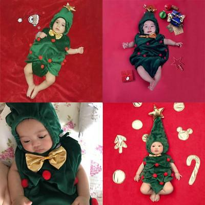 Newborn Baby Toddler Christmas Tree Clothes Set Photography Cap Outfit Cool Kit