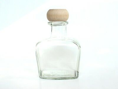 VINTAGE clear glass liquor bottle glass, large glass bottle with wooden top 25oz