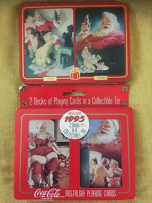 2 Coca-Cola Santa Claus Collector Tins with 2 Decks of Playing Cards Read Detail