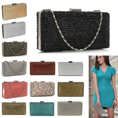Ladies Sparkly Diamante Crystal Evening Clutch Womens Prom Party Wedding Purse