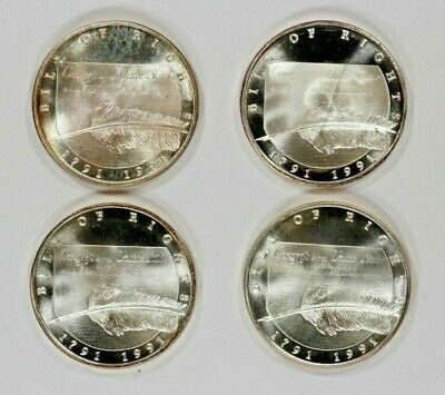 Bill Of Rights / Liberty Eagle  1 Troy Oz .999 Fine Silver Round Lot Of 4 (4246)