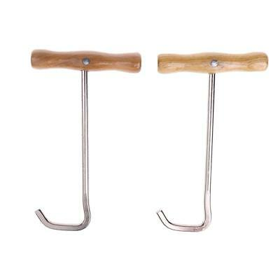 1 Pair Stainless Steel Men Women Horse Riding Boots Pulls with Wood Handle