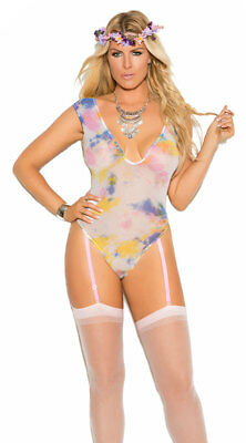 Plus Size Womens Plus Size Sheer Tie Die Gartered Teddy, Plus Size Tie Dye Teddy