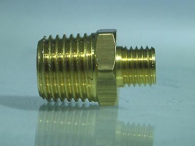 3/8 BSP Male X 1/4 NPT Male Brass Adaptor, American to European Reducing Fitting