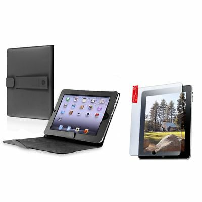 Black Stand Leather Case Smart Cover+Scren Protector For iPad 1 1st 3G