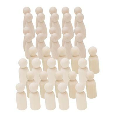 40pcs natural wood peg doll people bodies male & female wooden peg dolls set