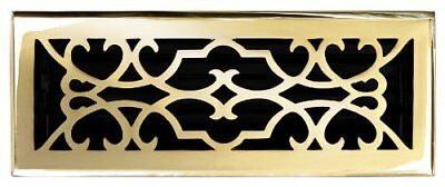 """Solid Cast Brass Victorian 4"""" X 12"""" Floor Register In Polished Brass Finish Mode"""