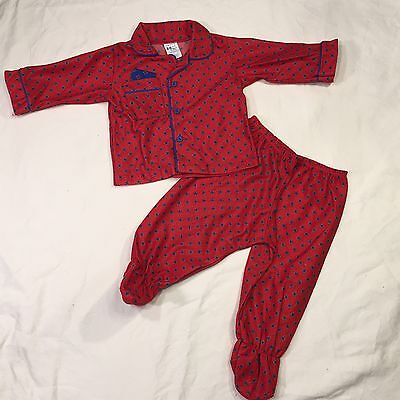 Vintage 2 Piece Footed Pajamas Red Long Sleeve 12 infant Months Buttons Old Man