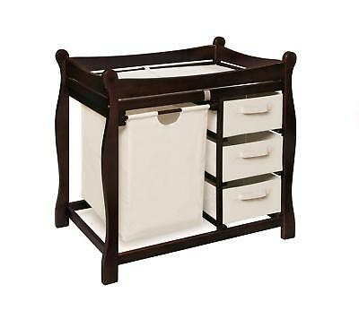 Sleigh Style Changing Table with Hamper & Three Baskets Espresso