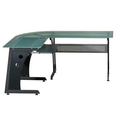 Techni Mobili Deluxe L-Shaped Tempered Frosted Glass Top Computer Desk With Pull
