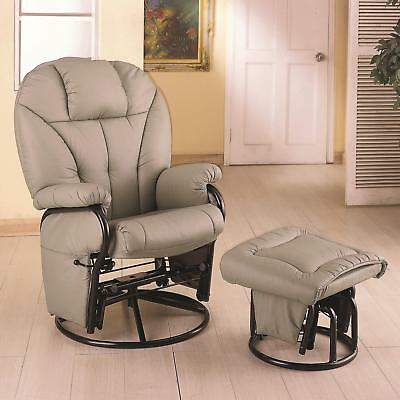 Leatherette Recliner with Matching Ottoman Bone