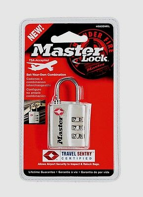 "Master Lock 1-3/16"" 3-Dial Combination Metal Luggage lock TSA Approve 4680DNLK"