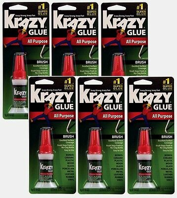6~ Instant Krazy Glue All Purpose Brush On 5g Super Strength Adhesive KG92548R