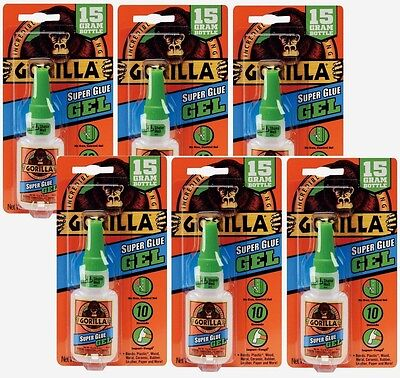6 New Gorilla Glue Super Glue Gel .53oz Adhesive No Run Control 05242776