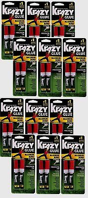 12 New! Krazy Glue Super Glue 4 g. Maximum bond No run gel Precision tip KG817