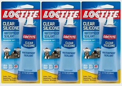 3 New 2.7oz LOCTITE Clear Silicone WATERPROOF Sealant Aquarium Sink Window Glass