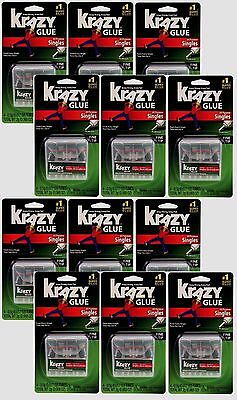 12~New Instant Krazy Glue All Purpose Single .5g High Strength Ahesive KG58248SN