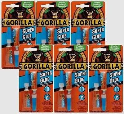 6 New Gorilla Glue Super Glue .22oz Adhesive Dries Clear High Strength 7800109