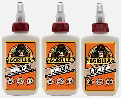 3 New! Gorilla Glue Wood glue 4oz Adhesive High Strength Cures in 24 hrs 6202003