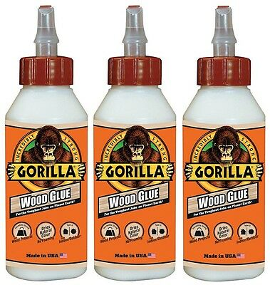 3 New! Gorilla Glue Wood glue 8oz Adhesive High Strength Cures in 24 hrs 6200002