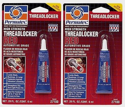 2~ New! PERMATEX 27100 THREADLOCKER RED High Strength Permanent Liquid 0.2 oz