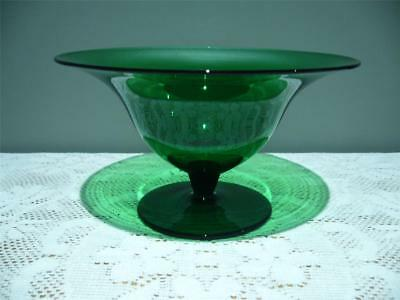 Lovely Forest Green Glass Footed Comport - Vintage Retro - Vg Condition