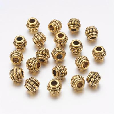 Lot of 10 Pieces Tibetan Style 8mm Golden Tone Alloy Ridged Spacer Beads US